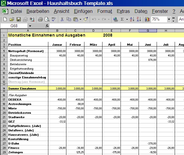 Haushaltsbuch Excel monatliche Ausgaben